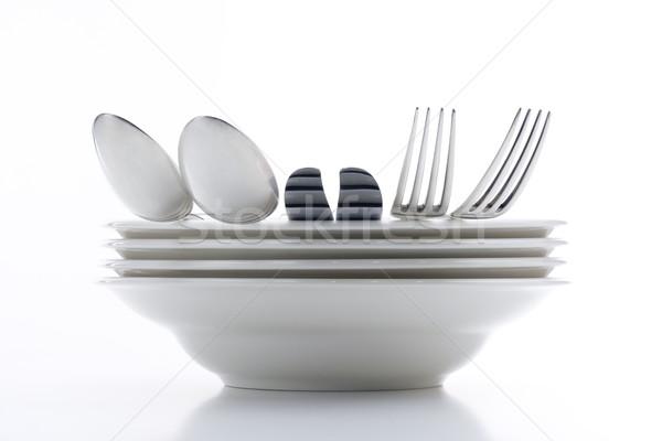 銀食器 白 プレート 孤立した 食品 金属 ストックフォト © courtyardpix