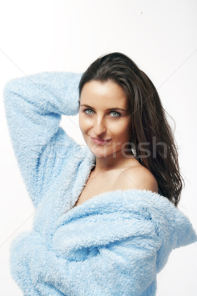 woman in bathrobe Stock photo © courtyardpix