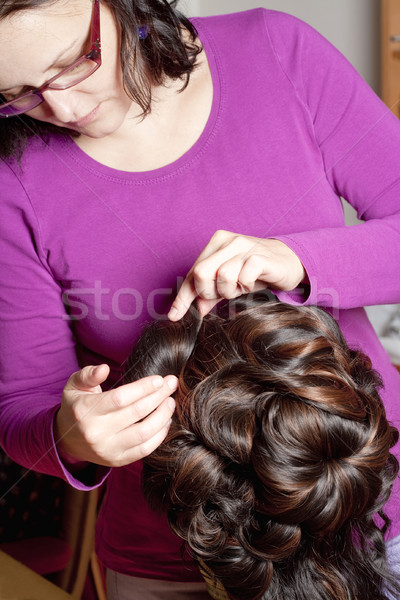 Professional Wig Maker Working in her Workshop. Stock photo © courtyardpix