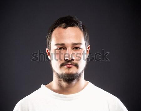 Portre genç koyu renk saçları yüz Stok fotoğraf © courtyardpix