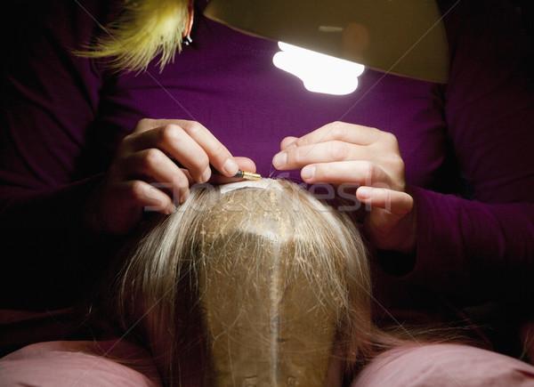 Profi paróka dolgozik műhely munka haj Stock fotó © courtyardpix