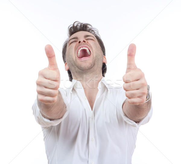 Man tonen beide opgewonden lachend Stockfoto © courtyardpix