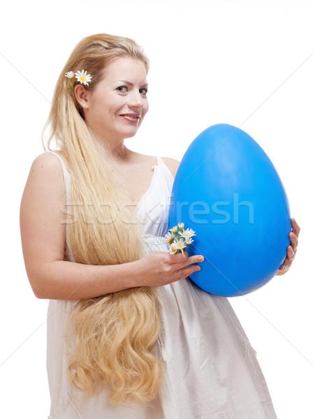 Fiatal nő hosszú szőke haj nagy kék Stock fotó © courtyardpix