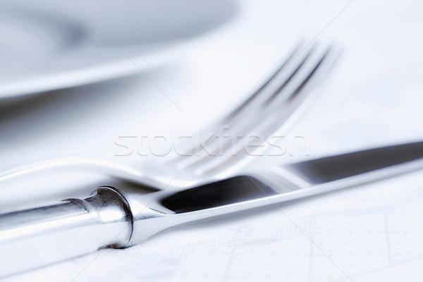 Ezüst étkészlet elegáns asztal fehér tányér étel Stock fotó © courtyardpix