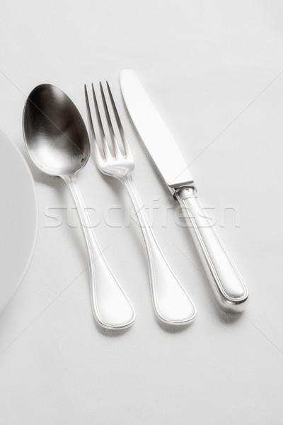 Argenterie élégante table blanche drap cuisine Photo stock © courtyardpix