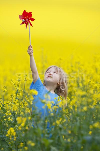 мальчика долго волос цветок Сток-фото © courtyardpix