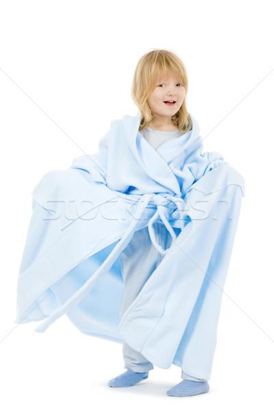 Fiú fürdőköpeny hosszú szőke haj anya Stock fotó © courtyardpix