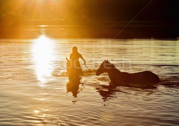 Kadın iki atlar göl gün batımı kız Stok fotoğraf © courtyardpix