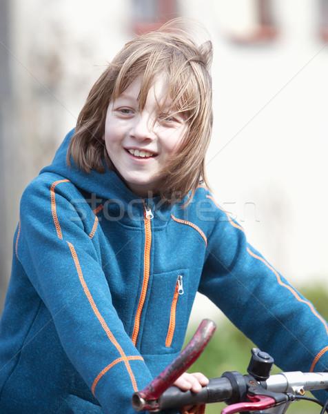 Portré fiú bicikli szőke haj mosolyog Stock fotó © courtyardpix