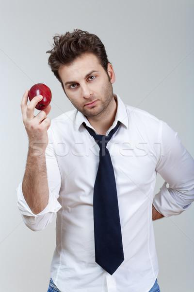 Stockfoto: Man · rode · appel · witte · shirt · stropdas
