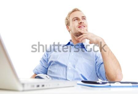若い男 オフィス 空想 座って 傾い 笑みを浮かべて ストックフォト © courtyardpix