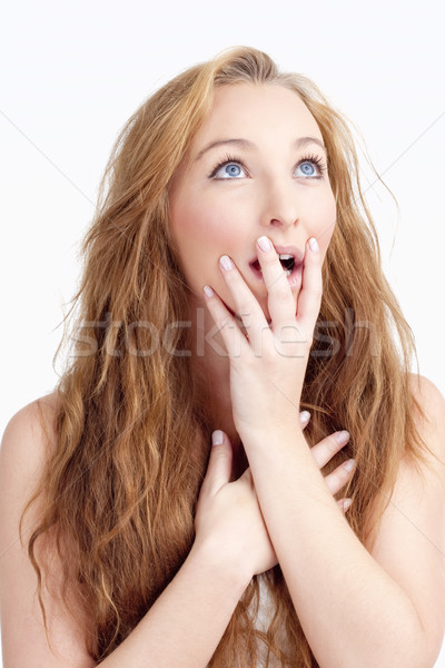 Young Woman with Long Brown Hair Looking Surprised Stock photo © courtyardpix