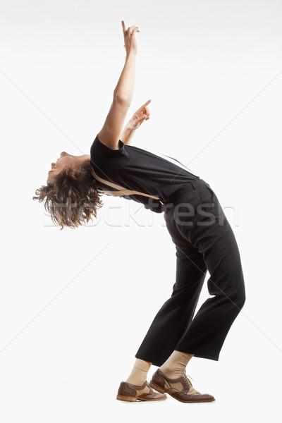 Fiatalember barna haj tánc izolált fehér Stock fotó © courtyardpix