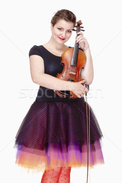 Portret młodych kobiet skrzypce gracz kolorowy Zdjęcia stock © courtyardpix