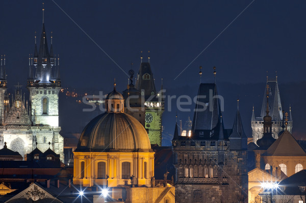 Csehország Prága óváros templom alkonyat égbolt Stock fotó © courtyardpix
