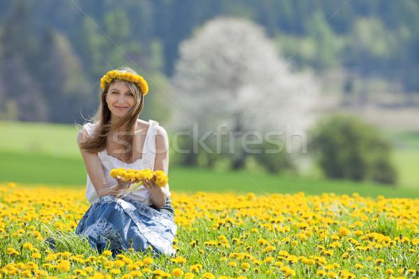 Mulher dandelion campo sessão olhando câmera Foto stock © courtyardpix
