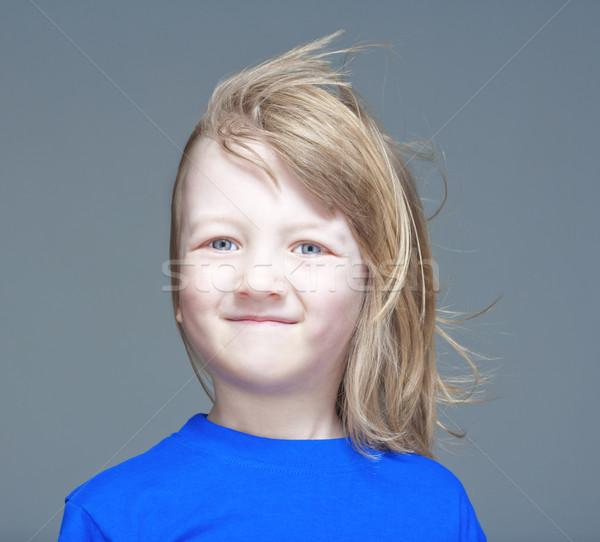 Portré fiú hosszú szőke haj mosolyog Stock fotó © courtyardpix