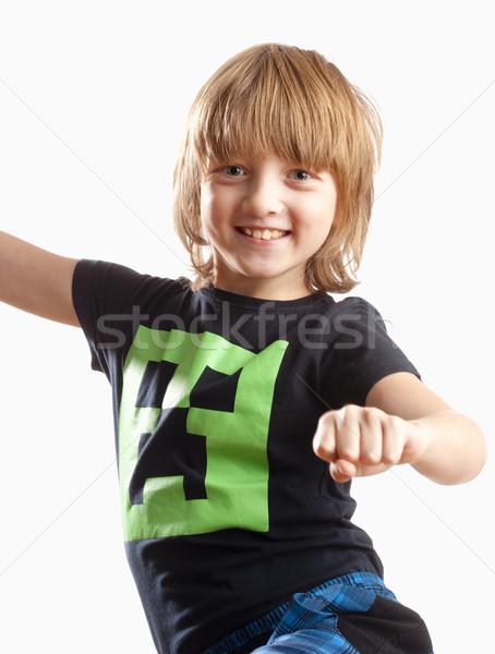 Fiú szőke haj mosolyog tánc zene Stock fotó © courtyardpix