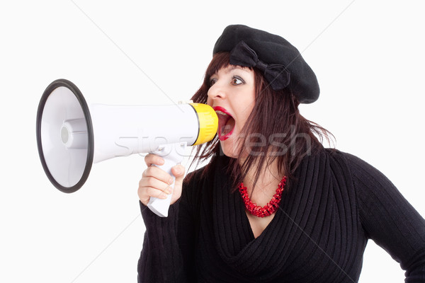 Young Woman with Hat Yelling in Megaphone Stock photo © courtyardpix