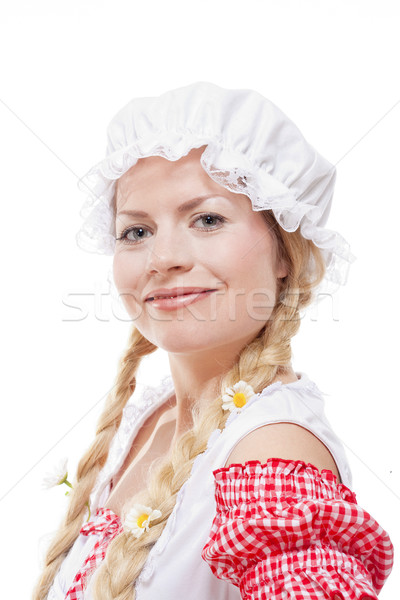 Portrait of a Young Country Girl with Long Blond Braids and Whit Stock photo © courtyardpix