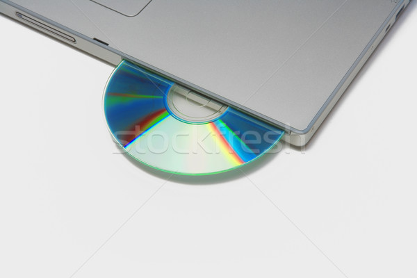 Dizüstü bilgisayar cd gümüş ofis klavye Stok fotoğraf © courtyardpix