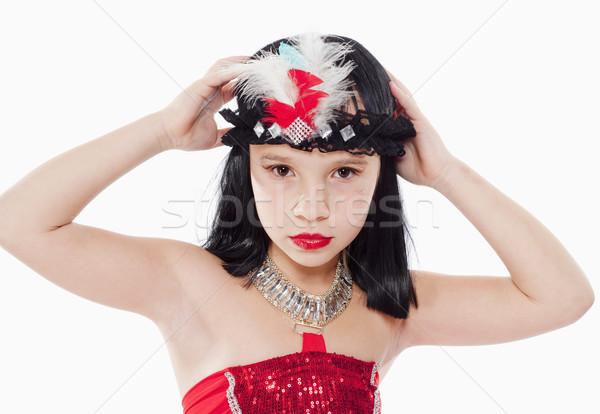 女の子 かつら 赤いドレス スタイル 肖像 髪 ストックフォト © courtyardpix