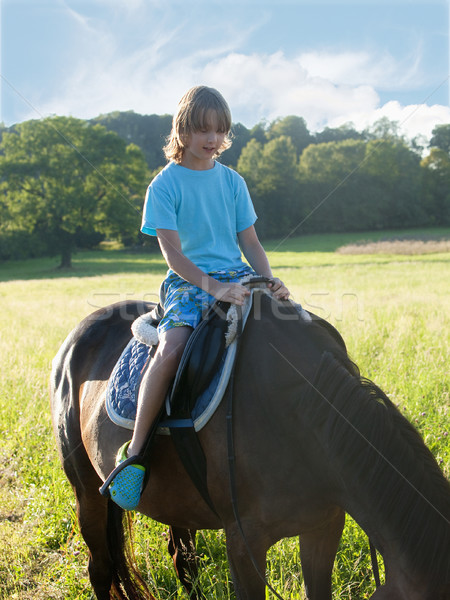 Boy in a Saddle of Horse Learning Horseback Riding  Stock photo © courtyardpix
