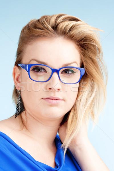 Portrait jeune femme blond cheveux verres isolé Photo stock © courtyardpix