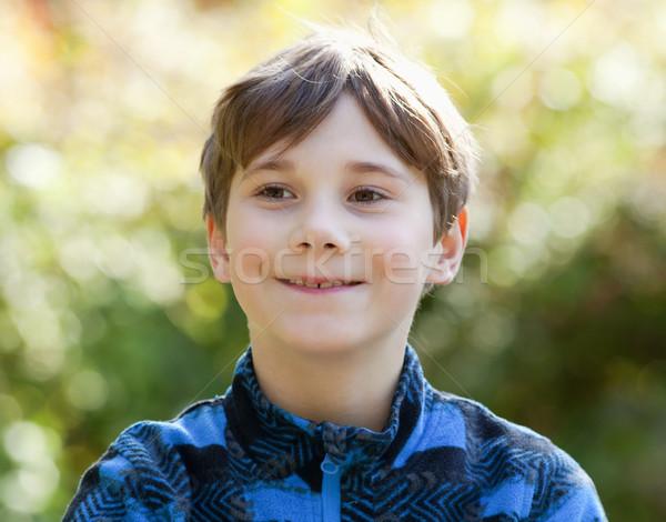 Portré fiú barna haj kint szem gyermek Stock fotó © courtyardpix