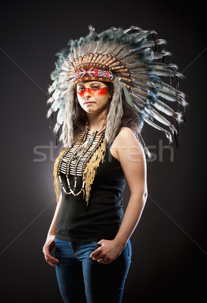 Native American Indian Chief War Bonner  Stock photo © courtyardpix