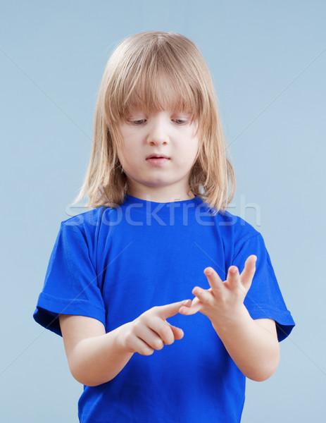 Gyermek ujjak fiú hosszú szőke haj Stock fotó © courtyardpix