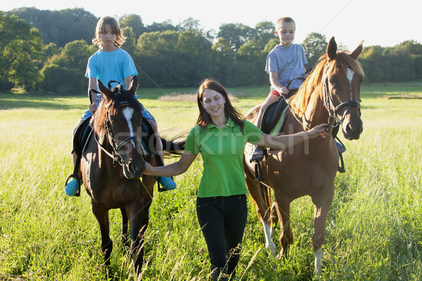 Jazda konna lekcje kobieta dwa konie Zdjęcia stock © courtyardpix