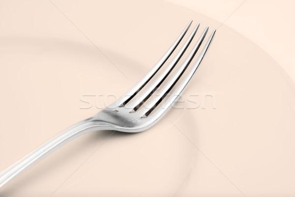 Argenterie fourche élégante table cuisine Photo stock © courtyardpix