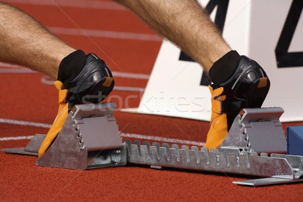 runner in starting blocks Stock photo © courtyardpix