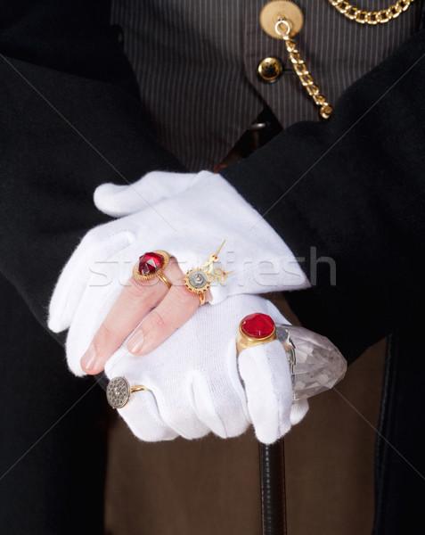 Bűvész kezek kesztyű gyűrűk közelkép férfi Stock fotó © courtyardpix