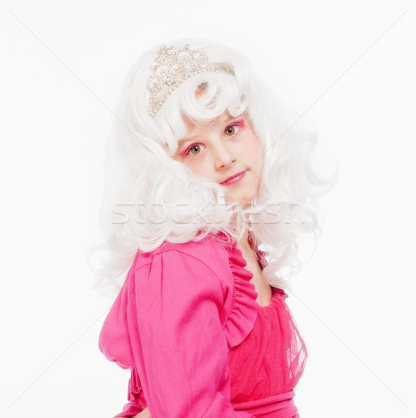 Girl in White Wig and Diadem Posing as Princess Stock photo © courtyardpix