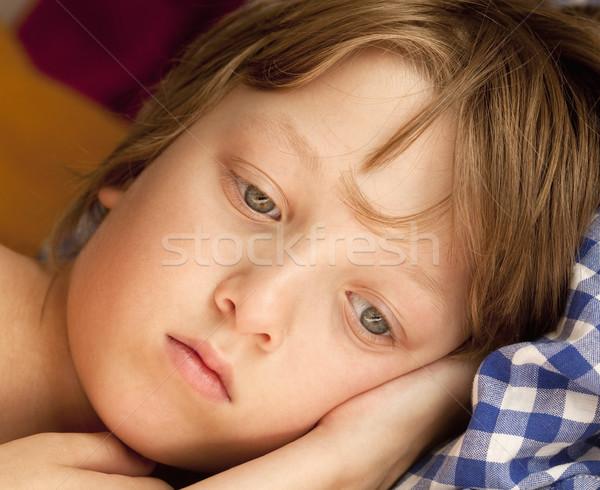 Portret chłopca blond włosy patrząc Zdjęcia stock © courtyardpix