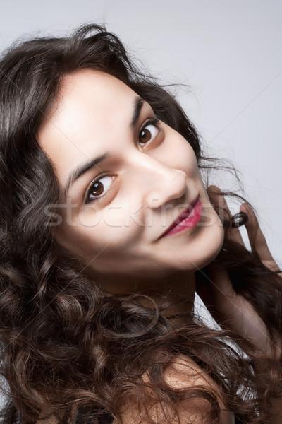 Ritratto giovani bella donna lungo capelli castani occhi marroni Foto d'archivio © courtyardpix