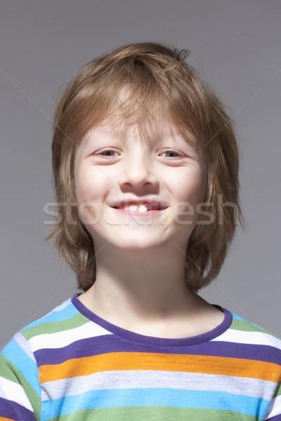 Portret chłopca blond włosy uśmiechnięty odizolowany Zdjęcia stock © courtyardpix