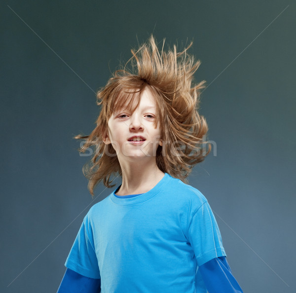 Portret chłopca włosy pływające powietrza twarz Zdjęcia stock © courtyardpix