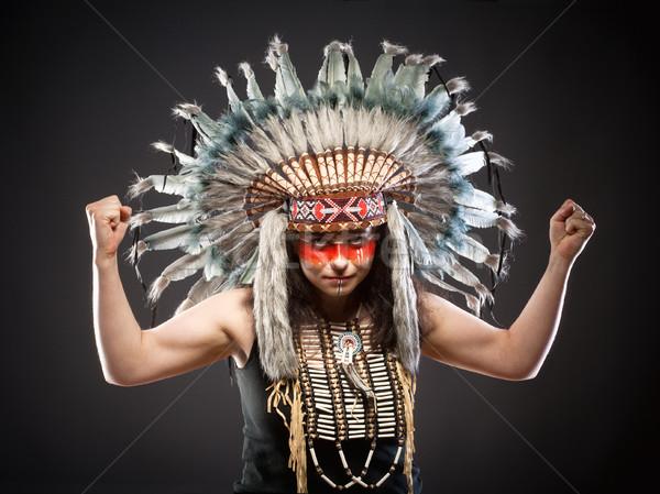 Native American Indian Chief War Bonner  Stock photo © courtyardpix