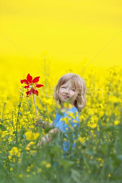 Chłopca długo blond włosy kwiat Zdjęcia stock © courtyardpix