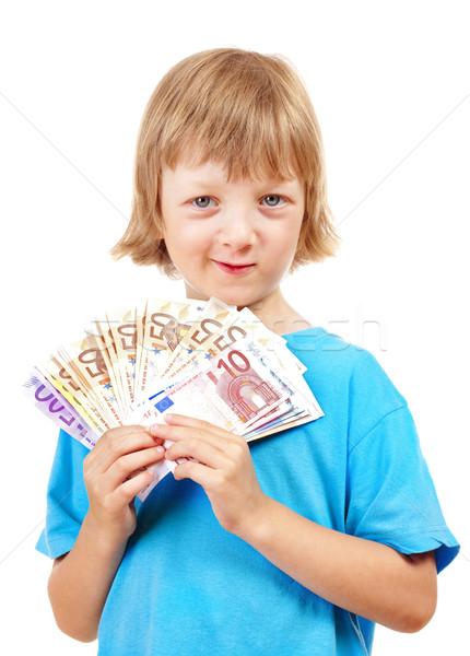 Fiú tart európai szövetség bankjegyek haj Stock fotó © courtyardpix