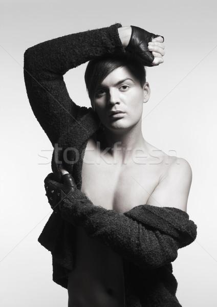 Trendi fiatalember kesztyű portré arc férfi Stock fotó © courtyardpix