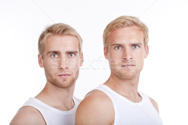 Portre ikiz kardeşler genç sarışın saç Stok fotoğraf © courtyardpix