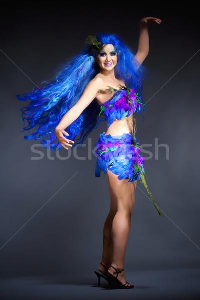 Portre kadın mavi peruk elbise Stok fotoğraf © courtyardpix