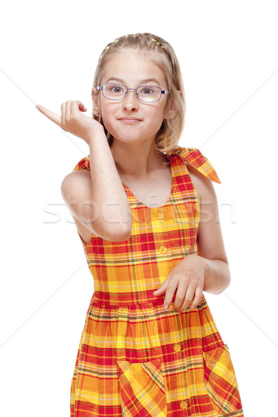 Little Girl with  Glasses Threatening with Finger Stock photo © courtyardpix
