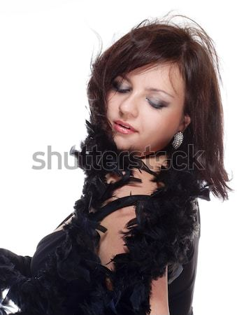 Woman with Black Hair in Sexy See-Through Dress  Stock photo © courtyardpix