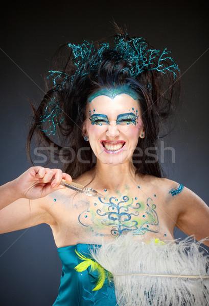 Portré gyönyörű fantázia nő portré nő hosszú haj Stock fotó © courtyardpix