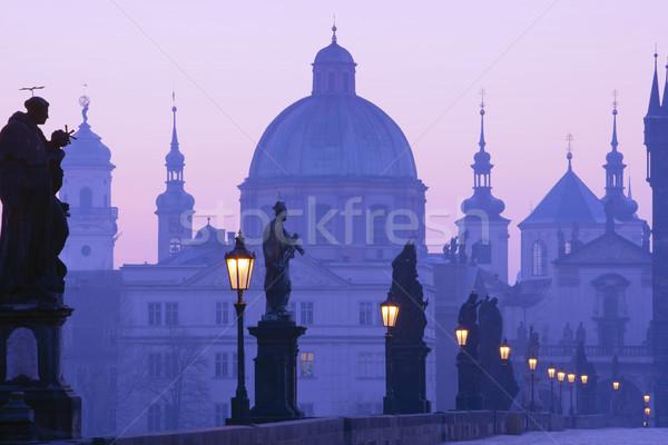 Praga ponte República Checa madrugada cidade luz Foto stock © courtyardpix